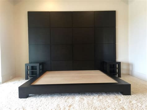 Hand Made Custom Espresso Platform Bed With Nightstands by