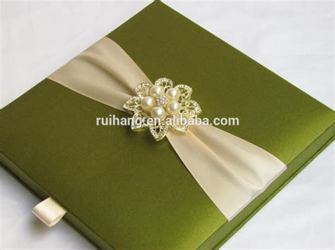 Green Luxury Gatefold Silk Box Wedding Invitations