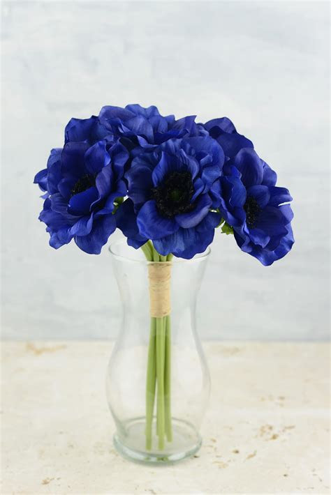 """Anemone Faux Flower Bundle in Navy Blue   12"""" Tall"""