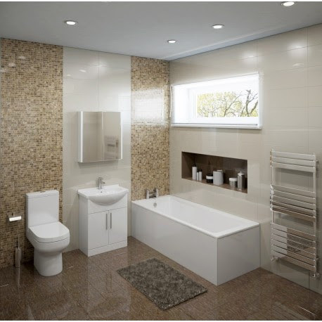 Colton Complete Modern White Bathroom Suite with Straight Bath
