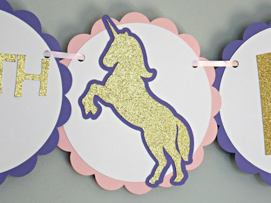 Unicorn Birthday Banner/ Glitter Gold Unicorn Banner/ Pink Unicorn Banner/ Girl Unicorn Birthday/ Glitter Silver Unicorn Banner/Unicorns