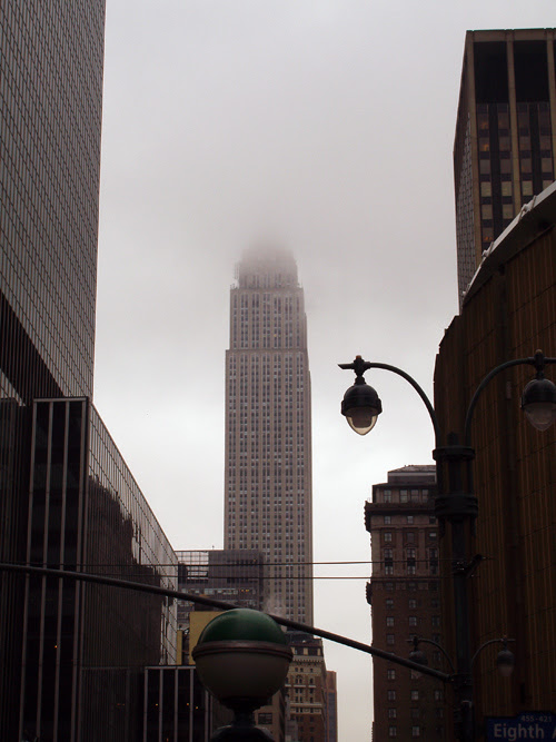 Empire State Building obscured by clouds