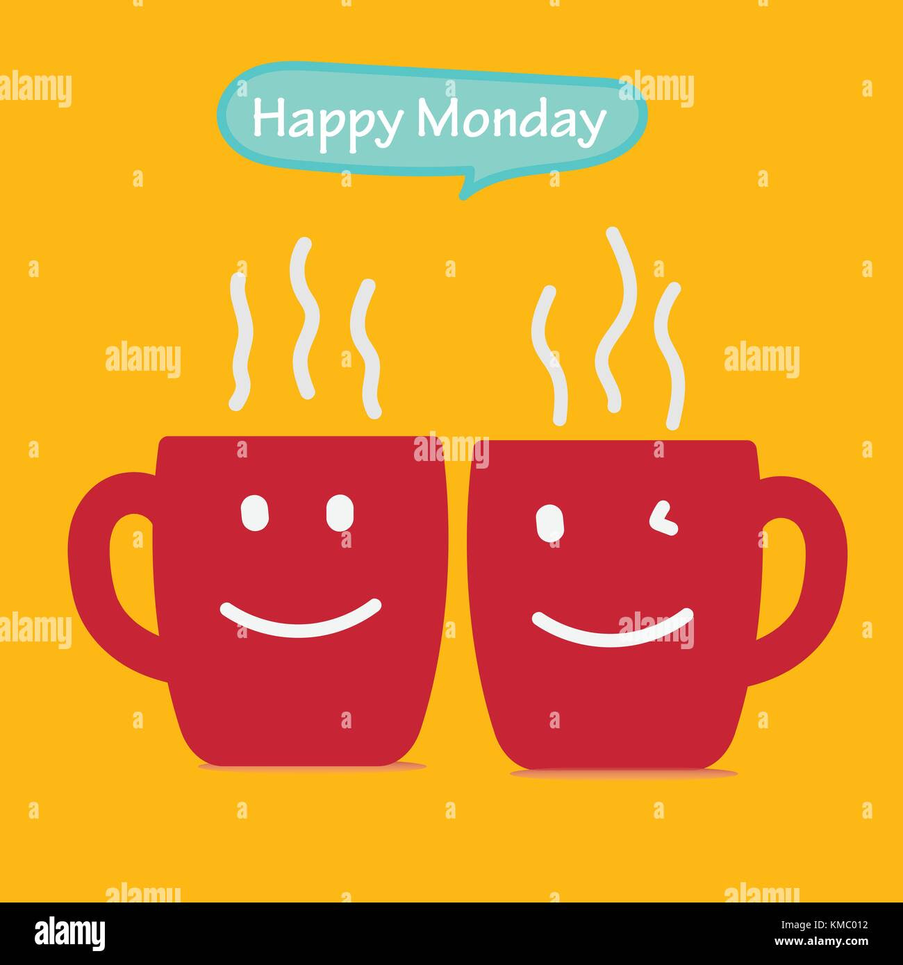 Happy Monday With Coffee Cup Vector Illustration Stock Vector Art