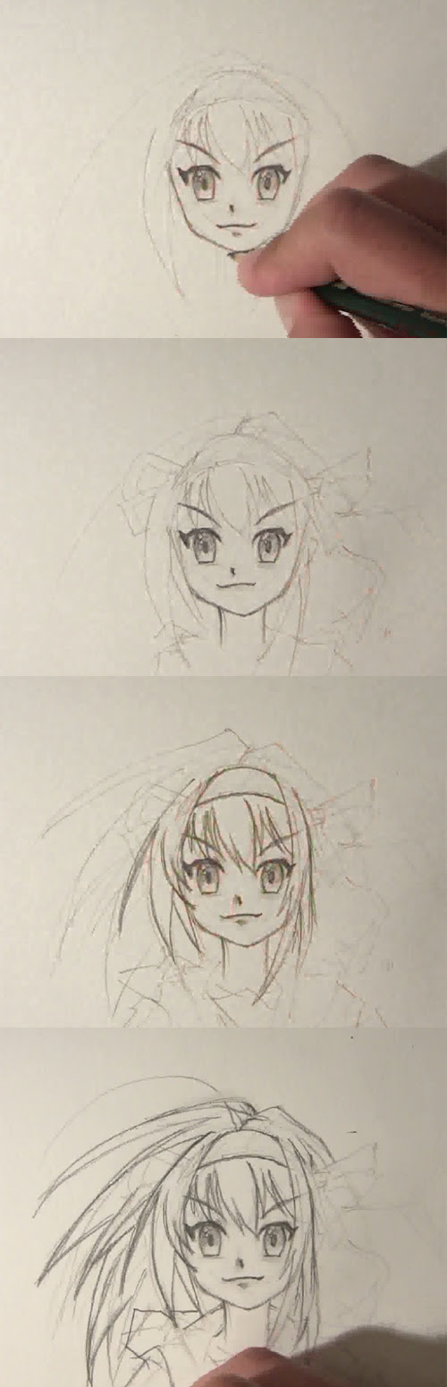 how to draw manga face front view part 2