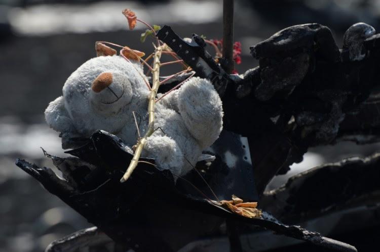 """Детская игрушка среди обломков """"боинга"""" Malaysian Airlines, сбитого в июле 2014 года над Донбассом. Фото RIA Novosti/Scanpix"""