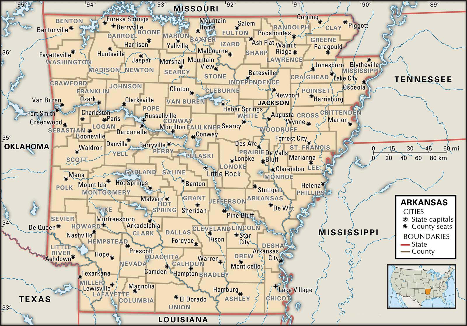 State And County Maps Of Arkansas