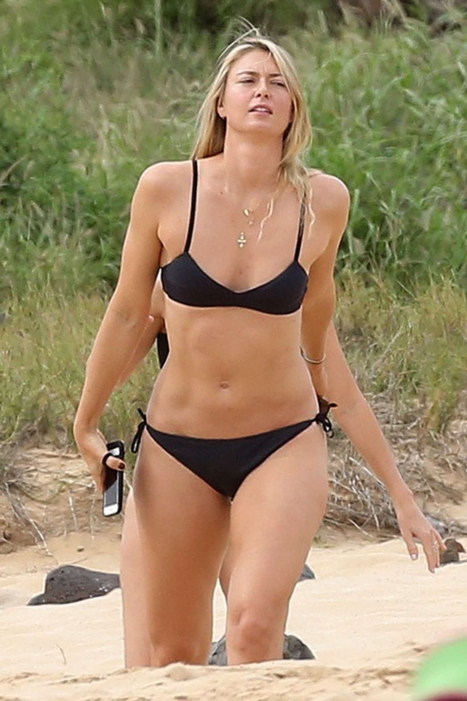 Maria Sharapova in Black Bikini in Hawaii