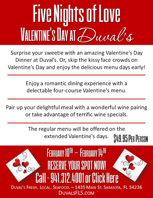 Celebrate Valentine's Day at Duval's with 5 Nights of Love