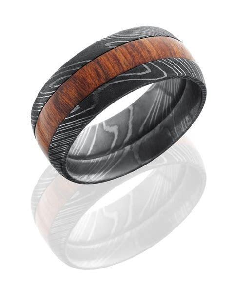 Crazy new combinations in Men's wedding bands: Wood inlay