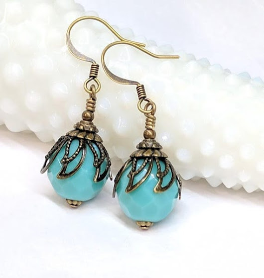 Turquoise Glass Bead Earrings Czech Glass Boho Chic Earrings