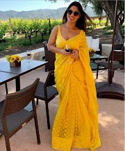 Wedding Wear Saree With Embroidery Work Yellow Colore Embroidery Work Saree