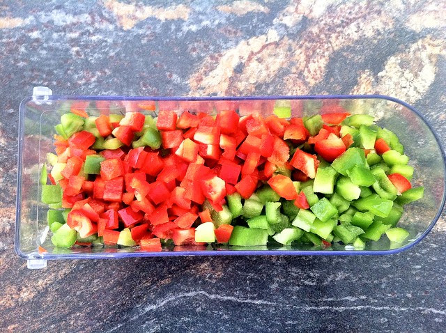Diced Red and Green Bell Peppers