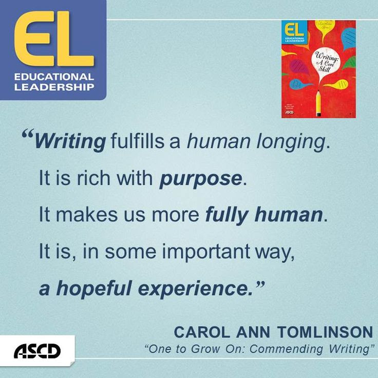 "Carol Ann Tomlinson discusses strategies on getting young people to write in her article, ""One to Grow On: Commending Writing,"" in the April 2014 edition of Educational Leadership."