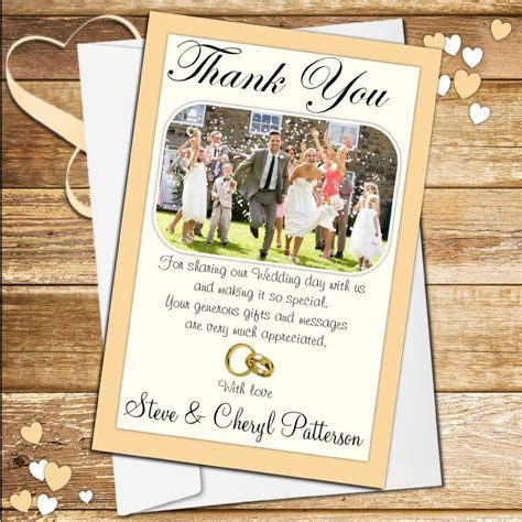 10 Personalised Wedding Day Thank you Photo cards N48