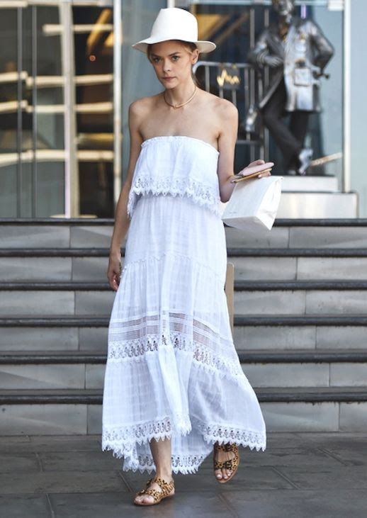 Le Fashion Blog Jaime King Eyelet Sleeveless Off Shoulder Dress Nude Hat Cheetah Print Sandals Via Vogue