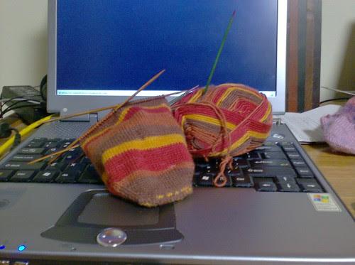 Knit Picks Felici red sock for a boy