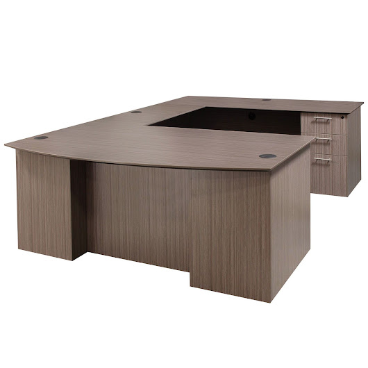 Catalina Laminate Straight Right Return U-Shape Desk, Drift | National Office Interiors and Liquidators