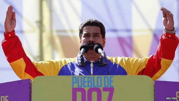 Nicolas Maduro during rally in Caracas