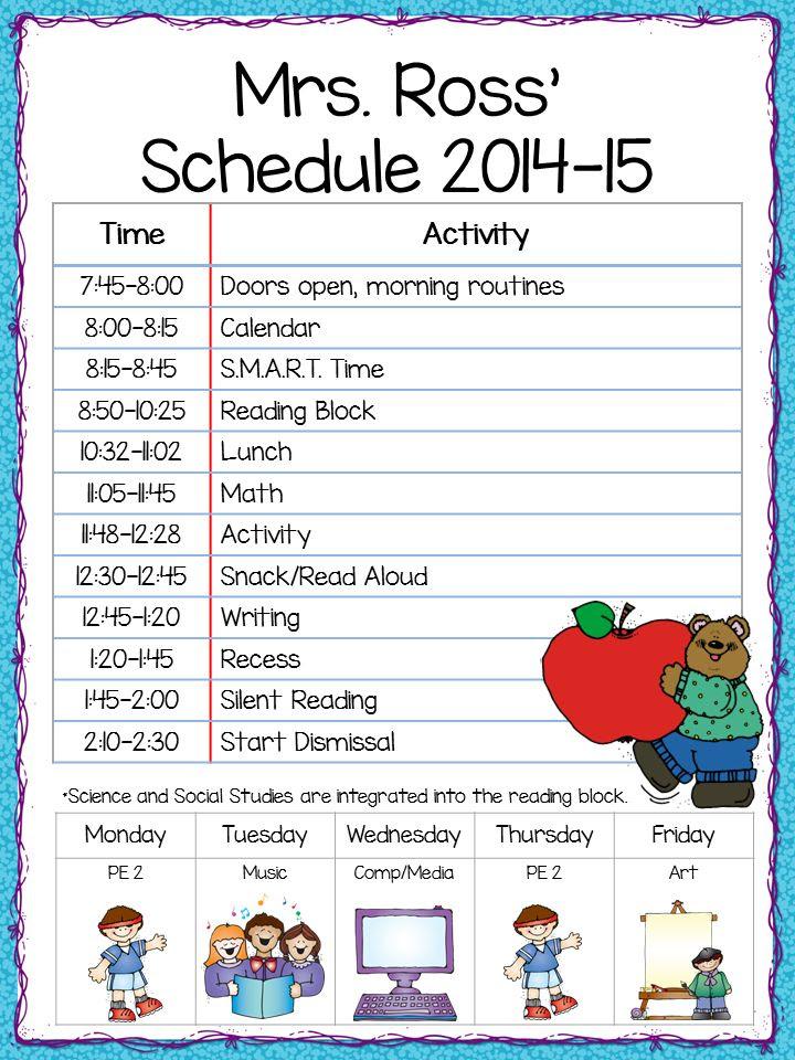 Second Grade Daily Schedule Example | Daily Agenda Calendar