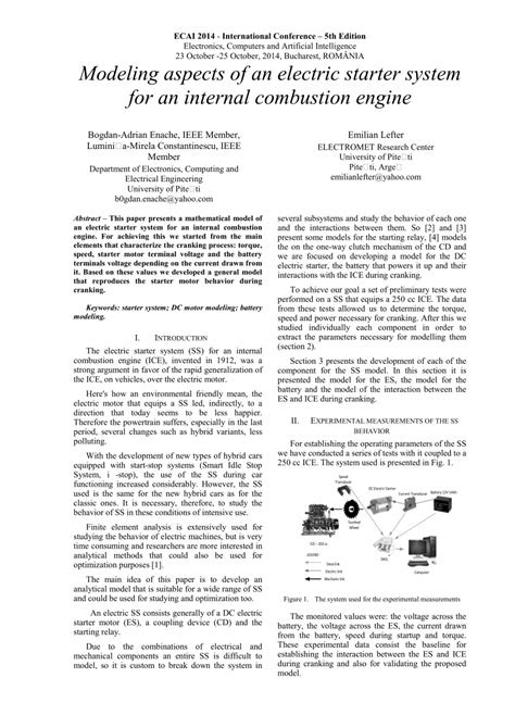 (PDF) Modeling aspects of an electric starter system for