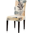 Subrtex Printed Leaf Stretchable Dining Room Chair Slipcover (4 Pieces, Yellow)