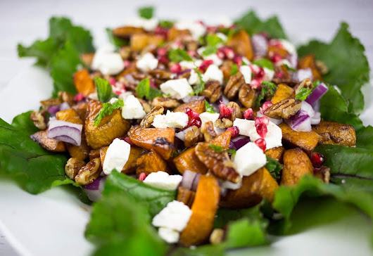 Sweet Potato & Feta Salad with Pomegranate & Pecans