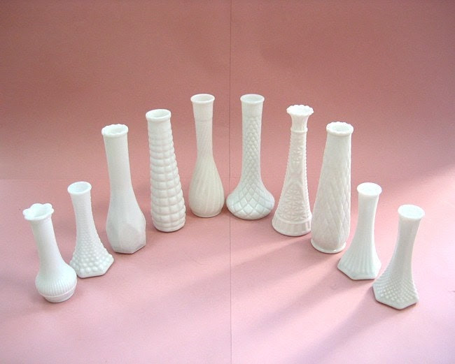 Collection of Vintage Milk Glass Bud Vases - Ten Different Styles