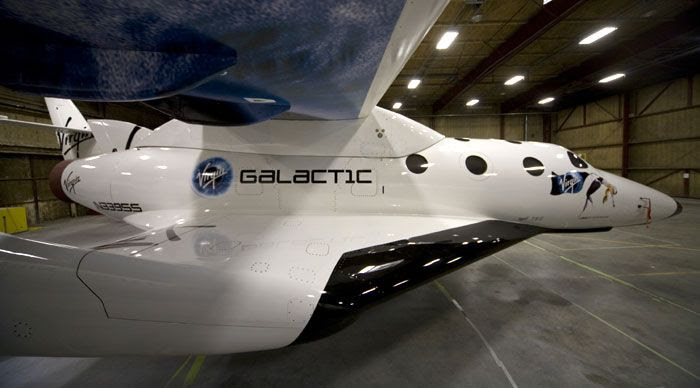 SpaceShipTwo as seen from its starboard side.