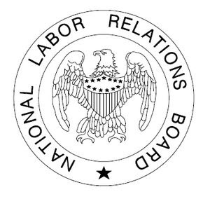 Black and white logo of the National Labor Rel...