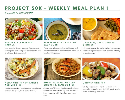 Project 50k Weekly Meal Plan 1 - Diet Meal Plan - Food Better Be Good