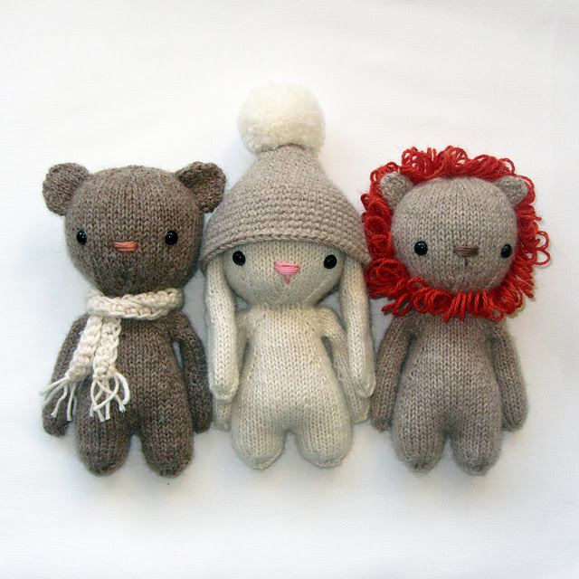 Peluches tricotées Knitted friends par Suzy Wool