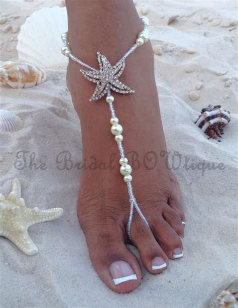 NEW DESIGN   Starfish pearls barefoot sandals.This pair of