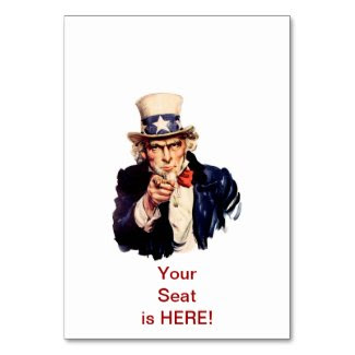 Uncle Sam Table Place Card Table Card