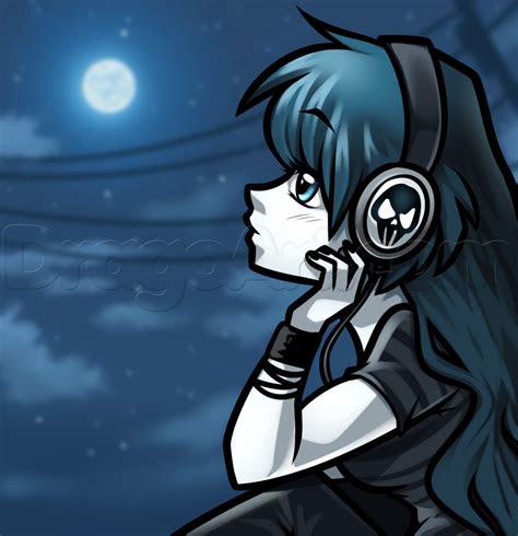 draw  girl  headphones step  step anime
