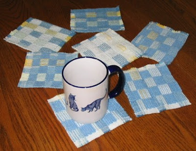 Mug rugs as samples.