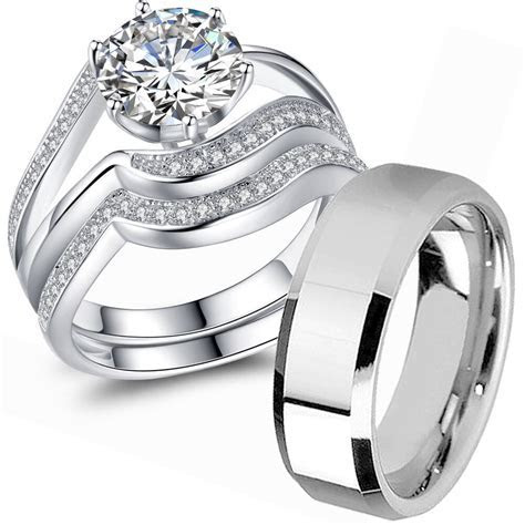 Couple Wedding Ring Sets His and Hers 925 Sterling Silver