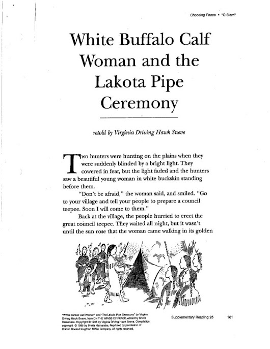 White Buffalo Calf Woman and the Lakota Pipe Ceremony
