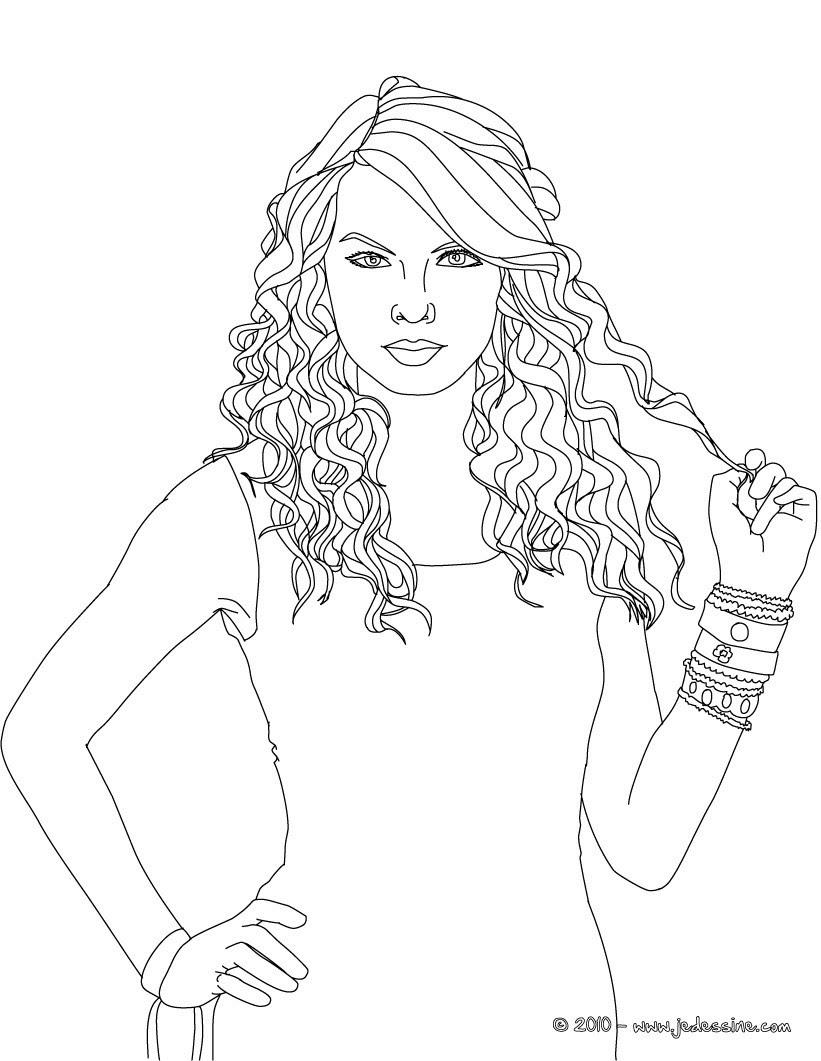 Coloriages Visage Taylor Swift à Colorier Frhellokidscom