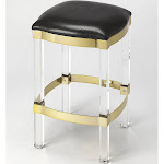 Jordan Acrylic & Leather Counter Stool Black - Butler Specialty