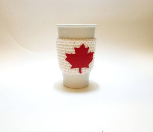 Canada 150 Cup Cozy White with Red Maple Leaf Canada 150