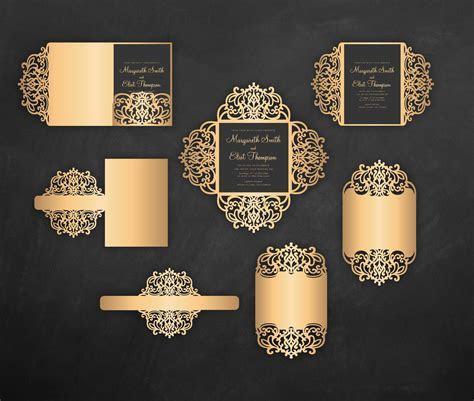 Laser cut wedding invitation Set, 5x7, Cricut Template
