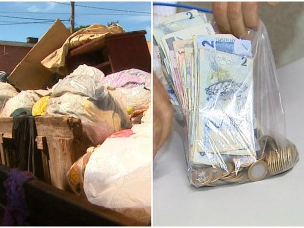 Dinheiro achado no lixo, em Ribeirão Preto, SP (Foto: Reprodução/EPTV)