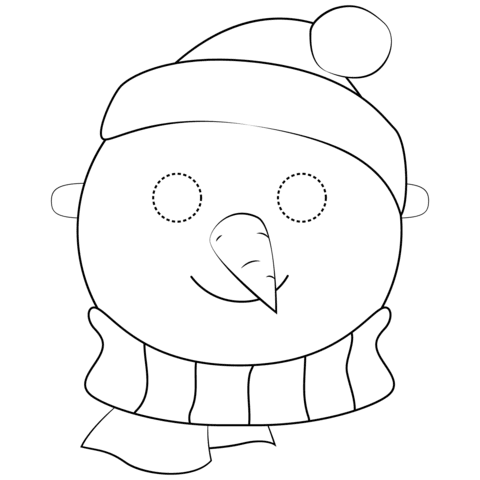 snowman mask coloring page  free printable coloring pages