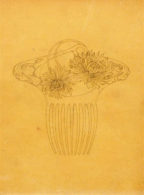rene lalique original drawing  chrysanthemum comb