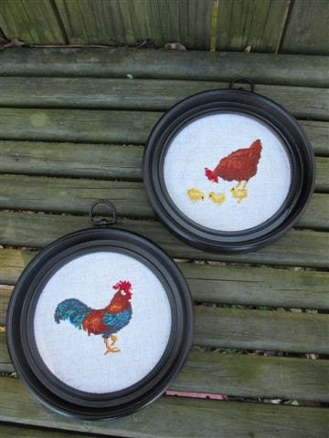 Vintage Pair of Rooster, Hen, Chicks Cross Stitch Wall Hangings