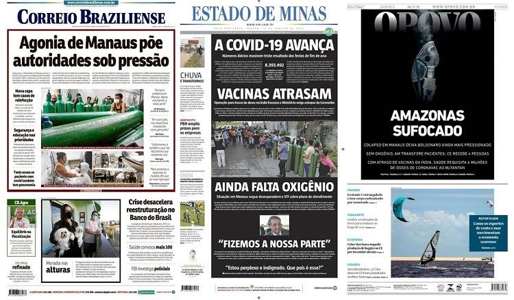 Capas dos jornais deste sábado, 16/01/2021