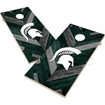 Michigan State University Spartans Solid Wood 2x4 Cornhole Board Set Herringbone Design