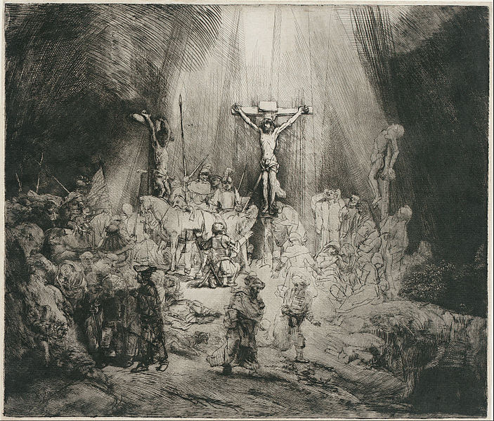 """File:Rembrandt Harmensz. van Rijn - Christ Crucified Between the Two Thieves (""""The Three Crosses"""") - Google Art Project.jpg"""