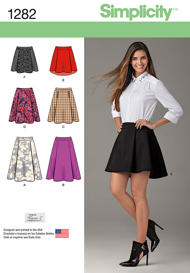 Simplicity Misses' Skirt with Length and Trim Variations 1282