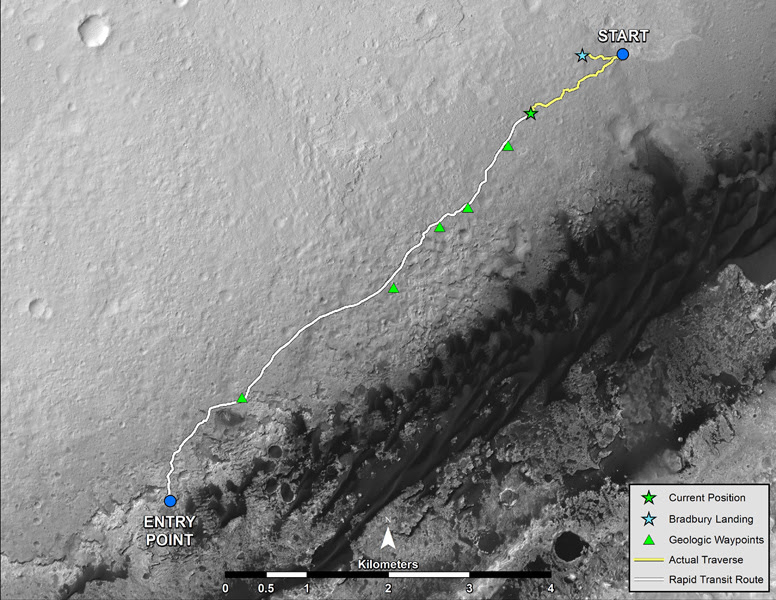 NASA's Mars rover Curiosity left the 'Glenelg' area on July 4, 2013, on a 'rapid transit route' to the entry point for the mission's next major destination, the lower layers of Mount Sharp.